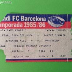 Coleccionismo deportivo: ENTRADA FÚTBOL CLUB BARCELONA 1985-86. Lote 179547735