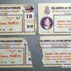 Coleccionismo deportivo: 4 ENTRADAS REAL MADRID - BAYERN MÜNCHEN. TROFEO SANTIAGO BERNABEU 1985. . Lote 180454743