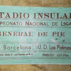 Coleccionismo deportivo: ENTRADA ESTADIO INSULAR F.C BARCELONA - U.D. LAS PALMAS. Lote 181348641
