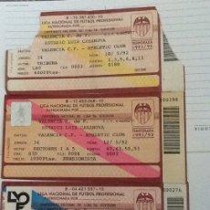 Coleccionismo deportivo: 3 ENTRADAS FUTBOL LIGA 1991/1992. VALENCIA- ATHLETIC CLUB, VALENCIA-ATHLETIC, VALENCIA - BARCELONA.. Lote 182072983
