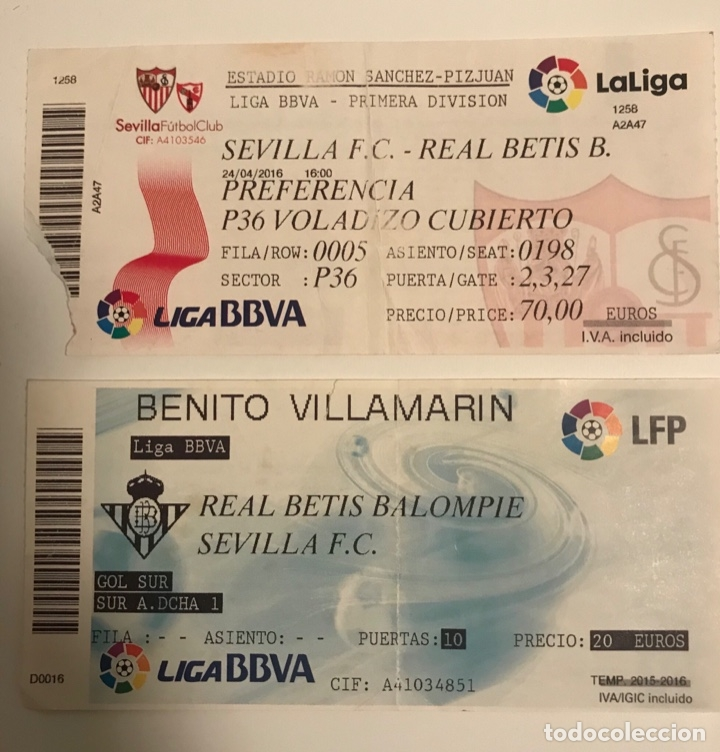 LOTE 2 ENTRADAS DIFERENTES SEVILLA CF - REAL BETIS BALOMPIE (Coleccionismo Deportivo - Documentos de Deportes - Entradas de Fútbol)