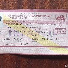 Coleccionismo deportivo: ENTRADA VALENCIA CF REAL MADRID LIGA TEMPORADA 1991-92. Lote 182714738
