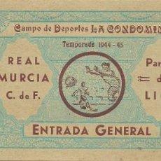 Coleccionismo deportivo: (F-191100Ñ)ENTRADA REAL MURCIA C.F. - CAMPO DE LA CONDOMINA - TEMPORADA 1944-45. Lote 183386442