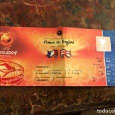 Coleccionismo deportivo: ENTRADA FÚTBOL UEFA EURO 2004 FRANCIA INGLATERRA. SIN USAR. Lote 186239333