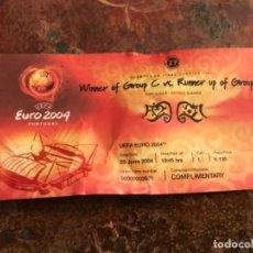 Coleccionismo deportivo: ENTRADA FÚTBOL UEFA EURO 2004 SEMI FINAL GRECIA REPÚBLICA CHECA. Lote 186240845