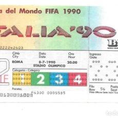 Coleccionismo deportivo: TICKET ENTRADA FINAL COPA DEL MUNDO FIFA ITALIA 1990. Lote 187573093