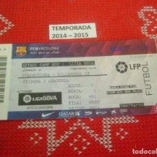 Coleccionismo deportivo: (LLL)-ENTRADA TRIBUNA CAMP NOU 2014-15 LIGA 1ª DIV.-F.C.BARCELONA-VILLARREAL. Lote 190630656