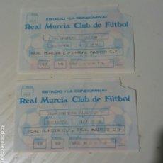 Coleccionismo deportivo: 2 ENTRADAS FÚTBOL MURCIA - REAL MADRID TEMPORADA 1988/89. Lote 191230435