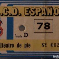 Coleccionismo deportivo: RCD ESPAÑOL LOTE 2 ENTRADAS AÑOS 70. Lote 191750965