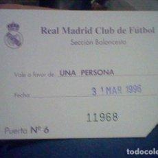 Coleccionismo deportivo: REAL MADRID BALONCESTO ENTRADA VALE INVITACION 1996 11 X 7,8 CMS CURIOSA. Lote 191900983