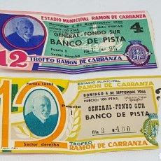 Coleccionismo deportivo: 2 ENTRADAS FUTBOL RAMON DE CARRANZA 1966 CAMPEON REAL MADRID. Lote 194153667