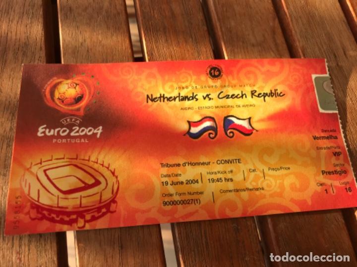 ENTRADA TRIBUNA DE HONOR UEFA EURO 2004 HOLANDA CHEQUIA 19 DE JUNIO DE 2004. JOGO 16.GROUP MATCH (Coleccionismo Deportivo - Documentos de Deportes - Entradas de Fútbol)