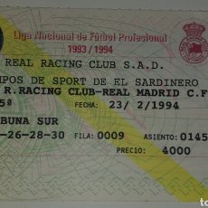 Coleccionismo deportivo: ENTRADA TICKET FUTBOL RACING SANTANDER-REAL MADRID 93 94. Lote 194324605