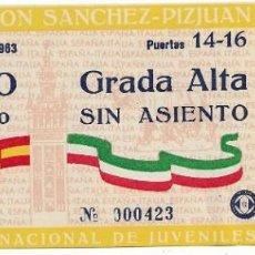 Coleccionismo deportivo: ANTIGUA ESTADIO RAMON DE SÁNCHEZ-PIZJUAN SEVILLA, 2 DE MARZO DE 1963 TORNEO INTERNACIONAL DE JUVENIL. Lote 194963217
