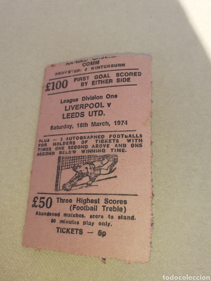 Coleccionismo deportivo: Ticket League Division One Liverpool 1974 - Foto 1 - 195099798