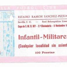 Coleccionismo deportivo: ENTRADA ANTIGUA ESTADIO RAMÓN SÁNCHEZ PIZJUAN COPA DE S. M. EL REY 2A ELIMINATORIA 6 NOVIEMBRE 1985. Lote 195144018