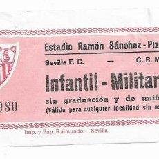 Coleccionismo deportivo: ENTRADA ANTIGUA ESTADIO RAMÓN SÁNCHEZ PIZJUAN SEVILLA F.C-C. R. MURCIA INFANTIL-MILITARES 23-11-86. Lote 195233443