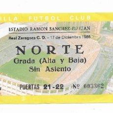 Coleccionismo deportivo: ENTRADA ANTIGUA ESTADIO RAMÓN SÁNCHEZ PIZJUAN REAL ZARAGOZA C.D. 17 DE DICIEMBRE 1986. Lote 195233608