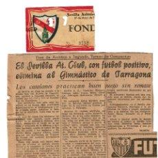 Coleccionismo deportivo: SEVILLA ATLETICO - TARRAGONA 1961 ENTRADA ASCENSO A SEGUNDA DIVISION CON RECORTE DE PERIODICO. Lote 195327150