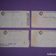 Coleccionismo deportivo: LOTE 4 ENTRADAS DATOS ESCRITOS A MANO, VALENCIA 3 AT. MADRID 5 VALENCIA 3 BAYER 0 PSV KARPIN VIOLA. Lote 195329777