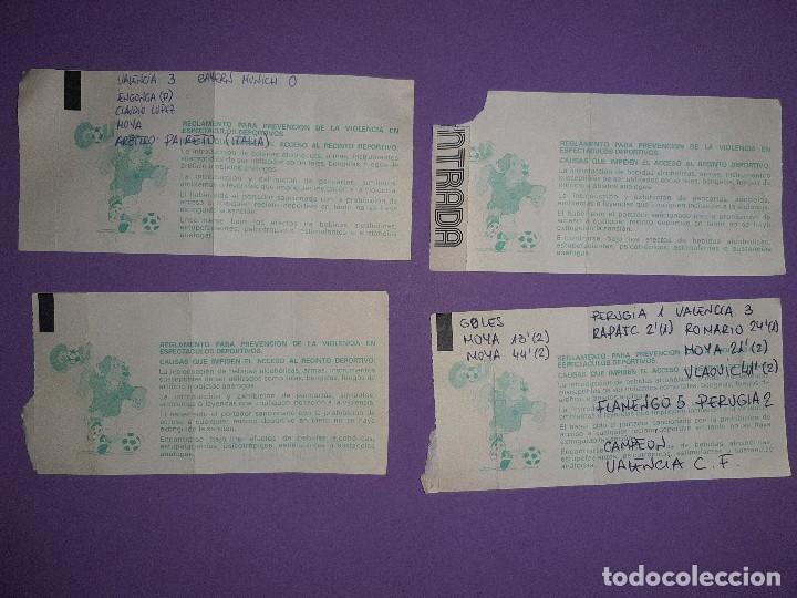 Coleccionismo deportivo: LOTE 4 ENTRADAS DATOS ESCRITOS A MANO, VALENCIA 3 AT. MADRID 5 VALENCIA 3 BAYER 0 PSV KARPIN VIOLA - Foto 4 - 195329777
