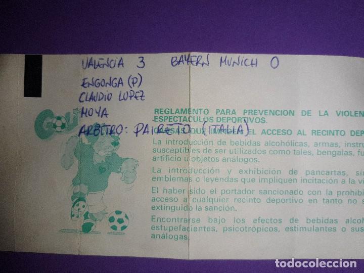 Coleccionismo deportivo: LOTE 4 ENTRADAS DATOS ESCRITOS A MANO, VALENCIA 3 AT. MADRID 5 VALENCIA 3 BAYER 0 PSV KARPIN VIOLA - Foto 5 - 195329777