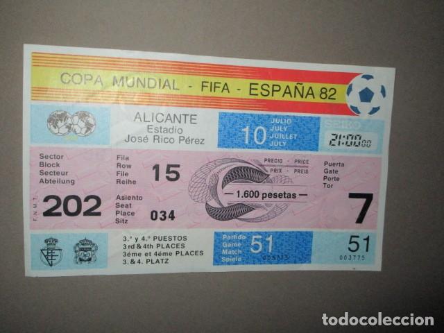 ENTRADA FUTBOL COPA MUNDIAL FIFA ESPAÑA 82 ALICANTE Nº 034 - JOSE RICO PEREZ 31 Y 41 PUESTO (Coleccionismo Deportivo - Documentos de Deportes - Entradas de Fútbol)
