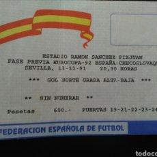 Coleccionismo deportivo: ENTRADA FUTBOL ESPAÑA CHECOSLOVAQUIA 1991. Lote 195471377