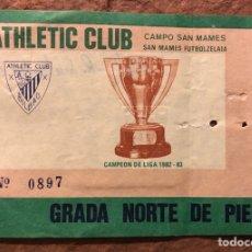 Coleccionismo deportivo: ATHLETIC CLUB BILBAO 1 - 0 RACING SANTANDER. ENTRADA PARTIDO TEMPORADA 1984/85.. Lote 196017818