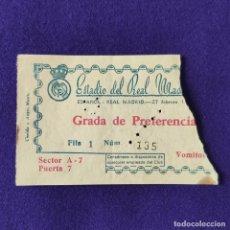 Coleccionismo deportivo: ANTIGUA ENTRADA ESPAÑOL - REAL MADRID. 27 DE FEBRERO 1955. ESTADIO DEL REAL MADRID. FUTBOL. . Lote 196496183