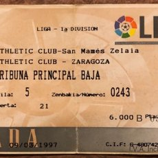 Coleccionismo deportivo: ATHLETIC CLUB 2 - 2 REAL ZARAGOZA. ENTRADA PARTIDO LIGA TEMPORADA 1996/97. SAN MAMÉS (BILBAO).. Lote 196560310