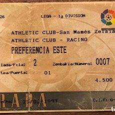 Coleccionismo deportivo: ATHLETIC CLUB 2 - 2 RACING SANTANDER. ENTRADA PARTIDO LIGA TEMPORADA 1996/97. SAN MAMÉS (BILBAO).. Lote 196560315