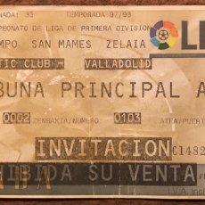 Coleccionismo deportivo: ATHLETIC CLUB 2 - 0 REAL VALLADOLID. ENTRADA PARTIDO LIGA TEMPORADA 1997/98. SAN MAMÉS (BILBAO). Lote 196560340