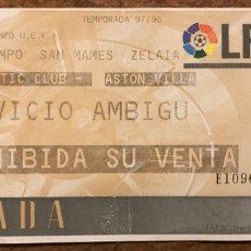 Coleccionismo deportivo: ATHLETIC CLUB 0 - 0 ASTON VILA. ENTRADA PARTIDO COPA DE LA UEFA 1997/98. SAN MAMÉS (BILBAO).. Lote 196560348
