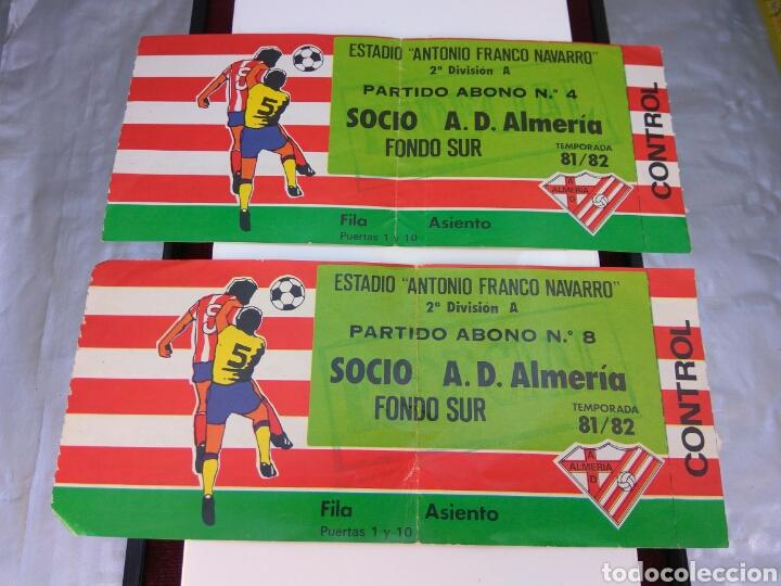 FÚTBOL A.D.ALMERIA ENTRADA TEMPORADA 81/82 DOS ENTRADAS (Coleccionismo Deportivo - Documentos de Deportes - Entradas de Fútbol)