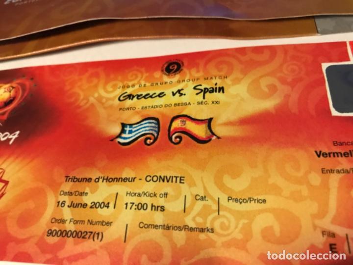 Coleccionismo deportivo: Entrada Tribuna de Honor Euro 2004 Portugal. Grecia vs España. Sin usar - Foto 2 - 197867831