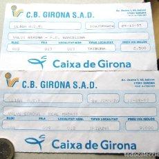 Coleccionismo deportivo: LOTE 2 ENTRADAS CB GIRONA SAD BALONCESTO VS REAL MADRID Y FC BARCELONA TEMPORADA 1997-98. Lote 198312168