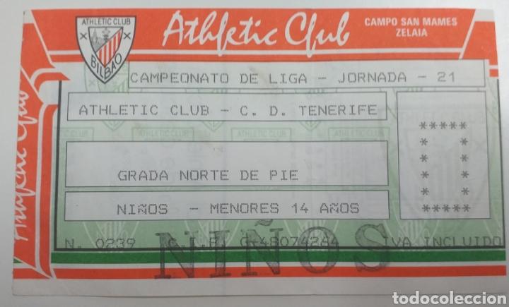 ENTRADA TICKET ATHLETIC BILBAO TENERIFE 89 90 (Coleccionismo Deportivo - Documentos de Deportes - Entradas de Fútbol)