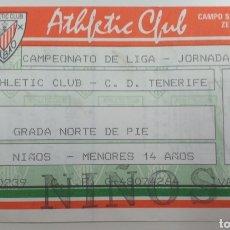 Coleccionismo deportivo: ENTRADA TICKET ATHLETIC BILBAO TENERIFE 89 90. Lote 198628120