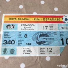 Coleccionismo deportivo: ENTRADA TICKET FÚTBOL MUNDIAL ESPAÑA 82 ZARAGOZA PARTIDO NÚMERO 12 ... ZKR. Lote 198634086