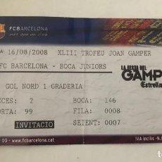 Coleccionismo deportivo: FC BARCELONA - ENTRADA LXIII TROFEO JUAN GAMPER 16 AGOSTO 2008 - FC BARCELONA - BOCA JUNIORS. Lote 199484512