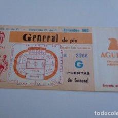 Coleccionismo deportivo: VALENCIA C DE F. ENTRADA, PARTIDO SEVILLA CF Y VALENCIA C. DE F. NOVIEMBRE 1983. CERVEZA AGUILA. Lote 200548318