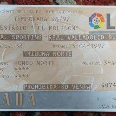 Coleccionismo deportivo: ENTRADA TICKET SPORTING GIJON VALLADOLID 96 97. Lote 200997195