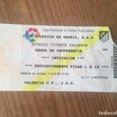 Coleccionismo deportivo: R9162 ENTRADA TICKET FUTBOL ATLETICO MADRID VALENCIA LIGA TEMPORADA 1994 1995. Lote 201157013