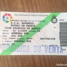 Coleccionismo deportivo: R9163 ENTRADA TICKET FUTBOL ESPAÑOL ESPANYOL ATLETICO MADRID LIGA TEMPORADA 1994 1995. Lote 201157041