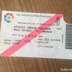 Coleccionismo deportivo: R9167 ENTRADA TICKET FUTBOL OVIEDO ATLETICO MADRID LIGA TEMPORADA 1994 1995. Lote 201157238