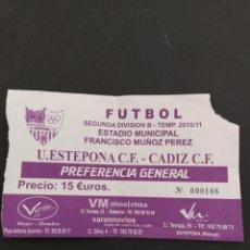 Coleccionismo deportivo: ENTRADA U.ESTEPONA-CADIZ CF. Lote 202273507