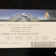 Colecionismo desportivo: ENTRADA TICKET UEFA CHAMPIONS LEAGUE REAL MADRID VS WOLFSBURG 2016 2016. Lote 202907457