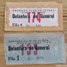 Coleccionismo deportivo: 2 ENTRADAS GRANADA CF AÑOS 70. Lote 205686075
