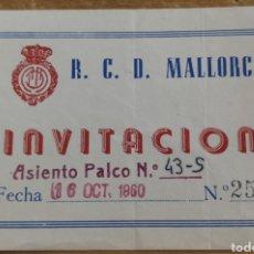 Coleccionismo deportivo: ENTRADA PALCO RCD MALLORCA-RCD ESPAÑOL 16/10/60. Lote 205706113